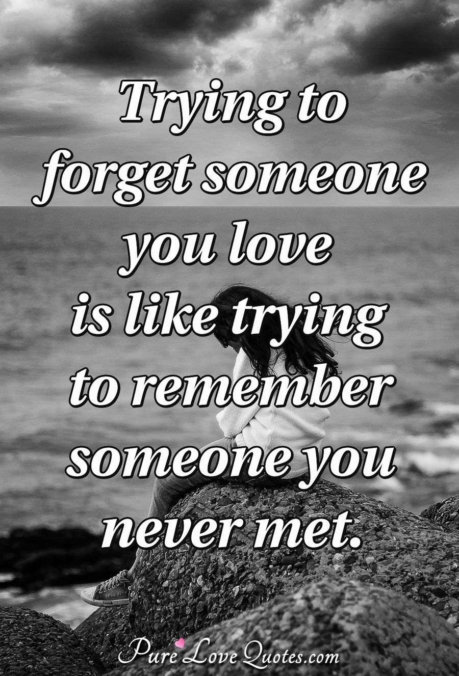 Trying to forget someone you love is like trying to remember someone you never met. - Anonymous