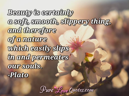 Beauty is certainly a soft, smooth, slippery thing, and therefore of a nature which easily slips in and permeates our souls.