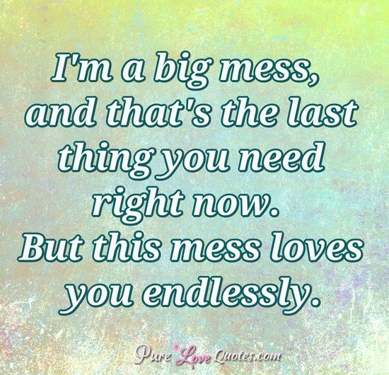 I'm a big mess, and that's the last thing you need right now. But this mess loves you endlessly.
