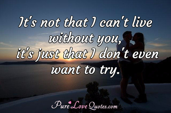 It's not that I can't live without you, it's just that I don't even want to try.