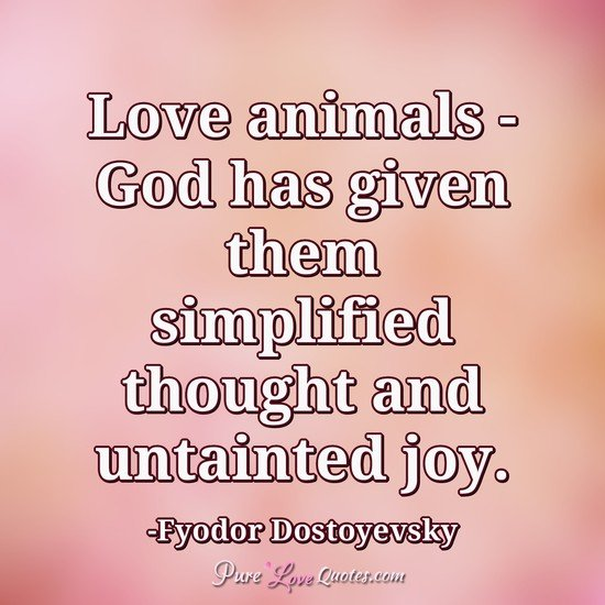 Love animals - God has given them simplified thought and untainted joy.