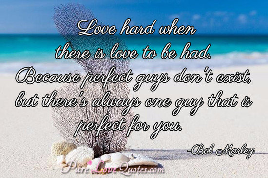 Love hard when there is love to be had. Because perfect guys don't exist, but there's always one guy that is perfect for you.