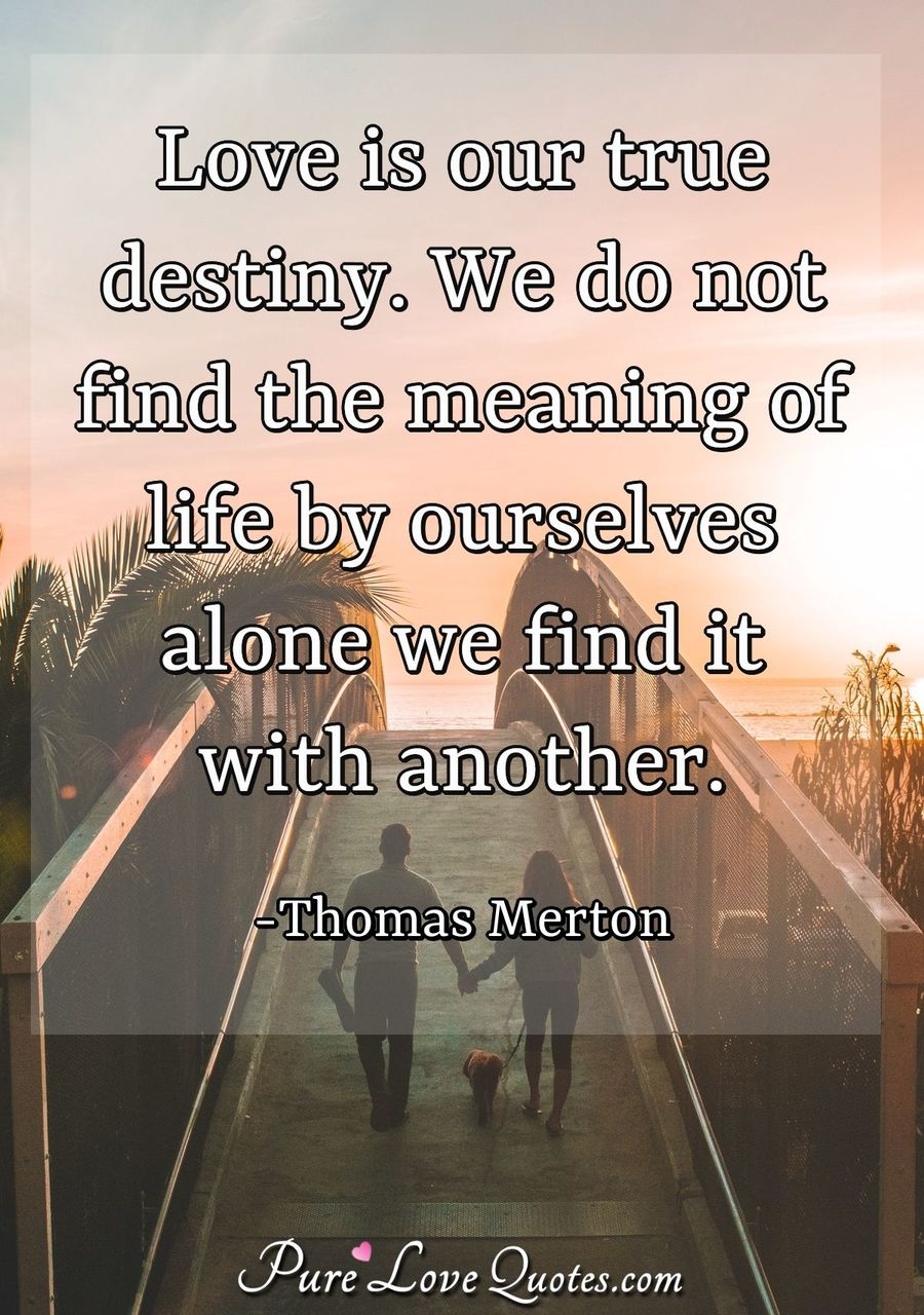 Love is our true destiny. We do not find the meaning of life by ourselves alone we find it with another. - Thomas Merton