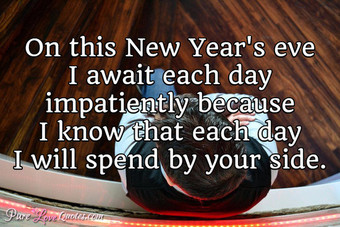 On this New Year's eve I await each day impatiently because I know that each day I will spend by your side.