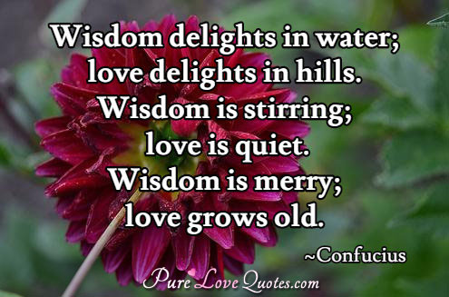 Wisdom delights in water; love delights in hills. Wisdom is stirring; love is quiet. Wisdom is merry; love grows old.